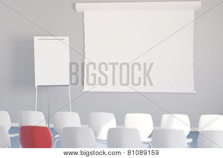 Empty whiteboard with chairs in a meeting room during a business conference (3D Rendering)