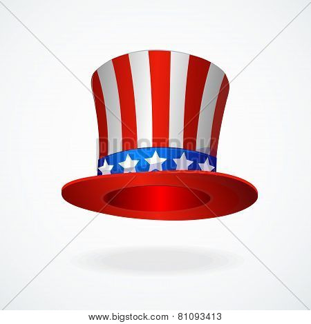 Uncle Sam's hat vector. 4 of July celebration icon
