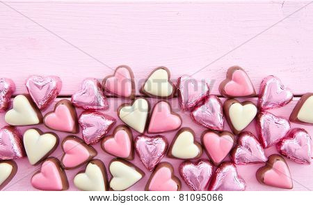 Colorful Chocolates In Heart-shape