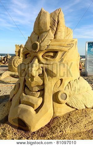 Atlantic City,NJ/USA-July 28,2014: Sand sculpting competition has evolved into a major performing arts attraction in Atlantic City, NJ. This piece of sand art was made by Daniel Belcher.