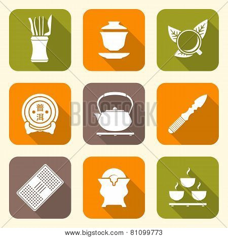 white color flat style chinese tea ceremony equipment icons set