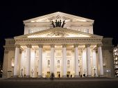 Night view of the State Academic Bolshoi Theatre Opera and Ballet Moscow Russia poster