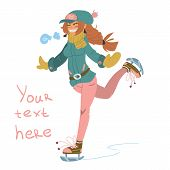 The vector illustration of cute young girl on skates. For ui, web games, tablets, wallpapers, and patterns. poster