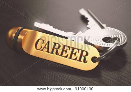 Keys to Career. Concept on Golden Keychain.