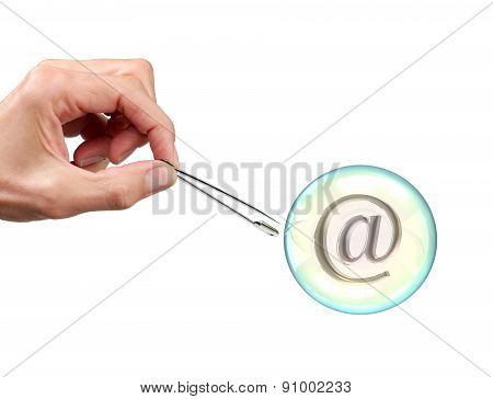Hand Popping Bubble With At Symbol