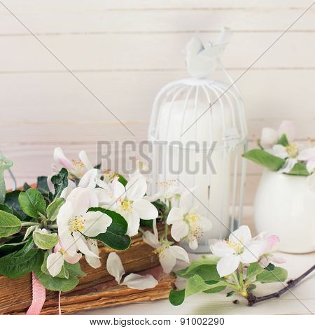Postcard with apple blossom decorative bird old books and candles in decorative bird cages on white painted wooden planls. Selective focus. Square image. poster