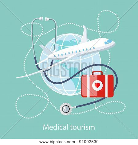 Medical Tourism. Icon of Traveling and Treatment