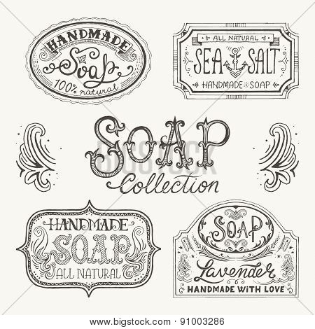 Hand Drawn Labels And Patterns For Handmade Soap Bars.