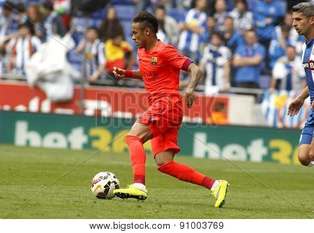 BARCELONA - APRIL, 25: Neymar da Silva of FC Barcelona in action during a Spanish League match against RCD Espanyol at the Power8 stadium on April 25 2015 in Barcelona Spain