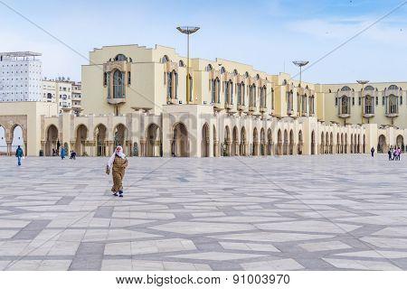 CASABLANCA, MOROCCO, APRIL 2, 2015: People visit Hassan II Mosque or Grande Mosquee Hassan II
