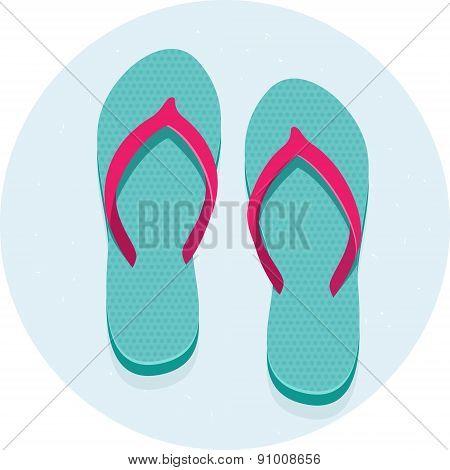 Vector illustration pair of flip flops turquoise beach sandals poster