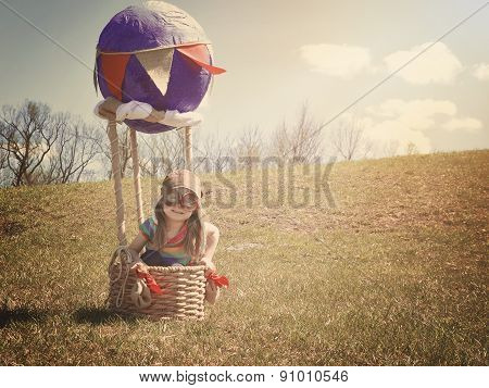 Child On Adventure Trip In Hot Air Balloon