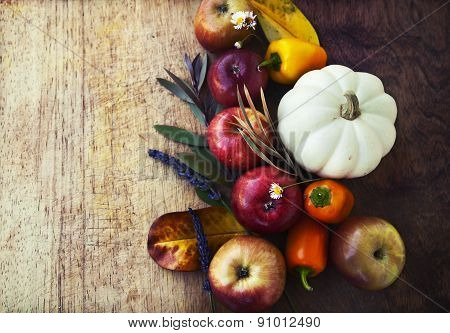Autumn background with fruits and vegetables
