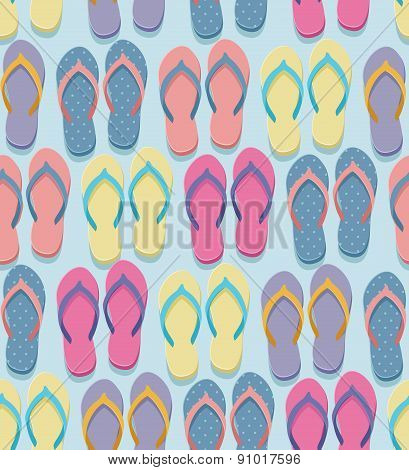 Seamless pastel colorful flip flops pairs pattern illustration in flat design style poster