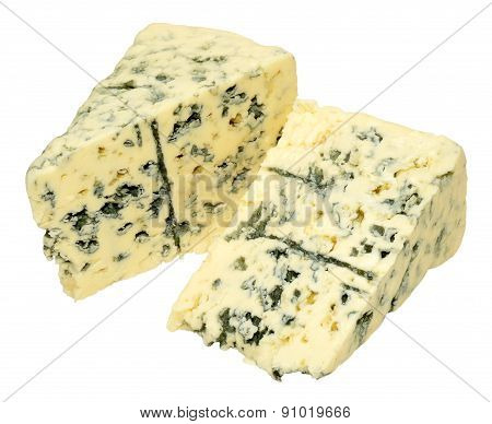 Danish blue veined cheese wedge isolated on a white background poster