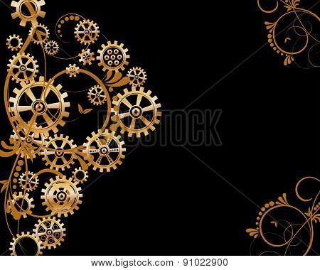 Abstract mechanical background with floral elements, vector illustration. Steampunk gear; poster