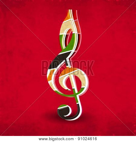 Musical sign on grungy red background.