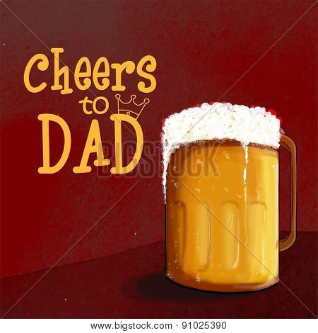 Celebrations for Fathers Day with full of beer mug and text