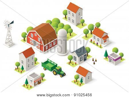 Isometric icons representing rural setting