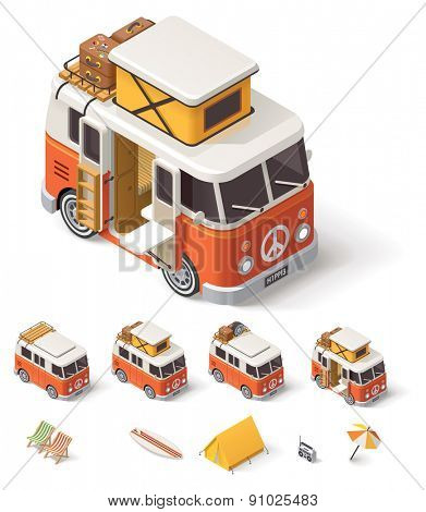 Isometric retro camper van and travelers equipment