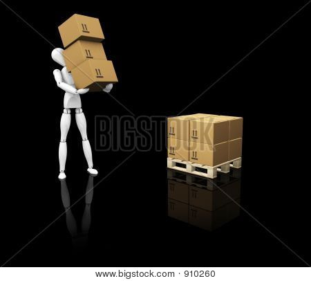 Man Stacking Boxes
