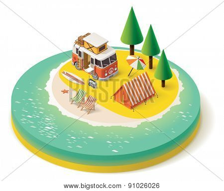 Isometric camper van on the beach