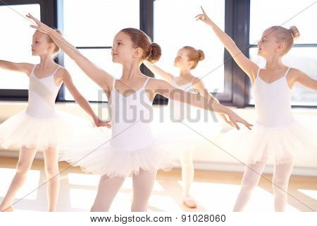 Choreographed Dance By A Group Young Ballerinas