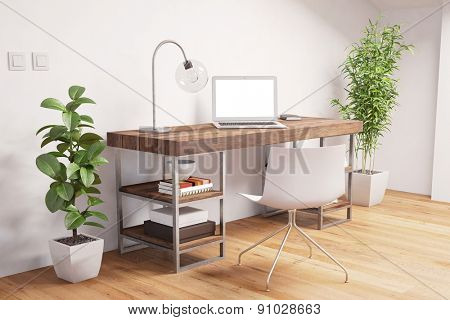 Home Office with desk and laptop computer with empty white screen (3D Rendering)