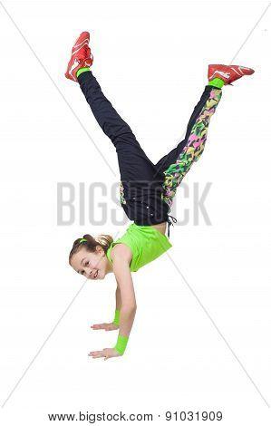 Happy Little Girl Dancing Break Dance