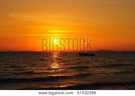 Tropical Sunset In Cambodia