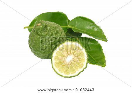 Bergamot Kaffir Lime Leaves Herb Fresh Ingredient Isolated