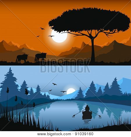 Evening and night time landscapes. Vector illustration.
