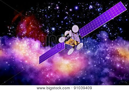 artificial satellite against nebula's background
