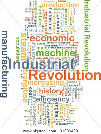 Background concept wordcloud illustration of industrial revolution