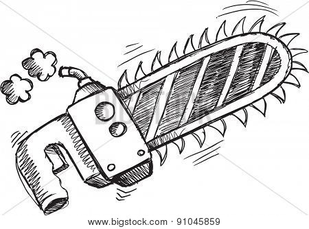 Doodle Sketch Chain Saw Vector Illustration Art