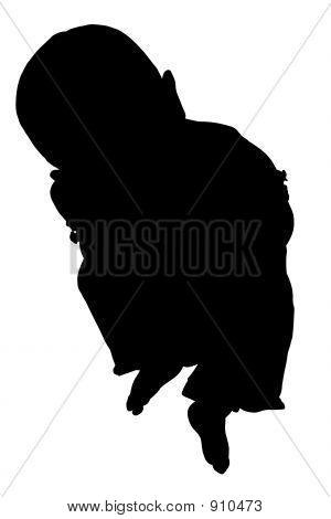Silhouette With Clipping Path Of Baby Sitting