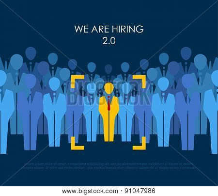 ?hoice best suited employee. Yellow human with red tie sign as a symbol of chosen one by recruiter. HR job seeking concepts. The chosen people. White crow, black sheep - an exception to the masses poster