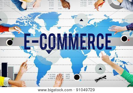 E-Commerce Online Networking Technology Marketing Business Concept poster
