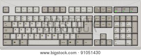 Us English Qwerty Computer Keyboard. Grey