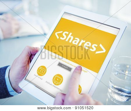 Digital Online Shares Commision Office Working Concept