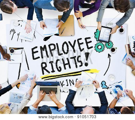 Employee Rights Working Benefits Skill Career Compensation Concept poster