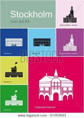 Landmarks of Stockholm. Set of color icons in Metro style. Raster illustration.