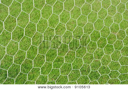 Soccer net on a grass background .