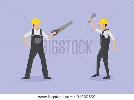 Labor Workers With Tools Vector Cartoon Illustration