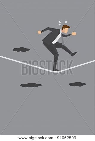 Nervous Businessman Walking A Tightrope