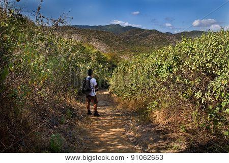 Unidentified tourist exploring Machalilla National Park, preserve in Manabi, Ecuador