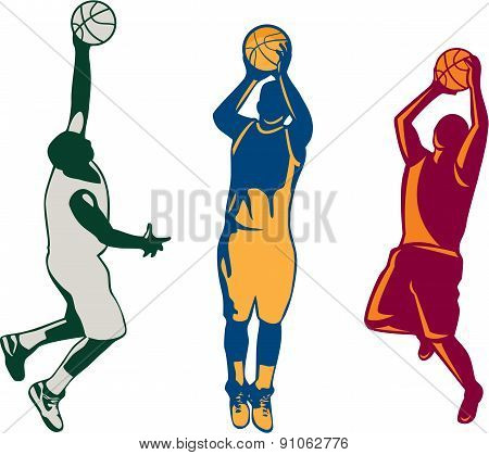 Basketball Player Shooting Retro Collection