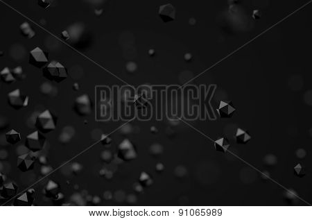 Abstract 3d rendering of low poly chaotic particles.