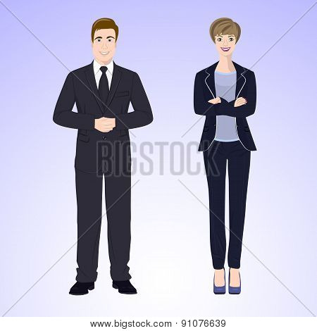 Smiling man and woman in office style wear.