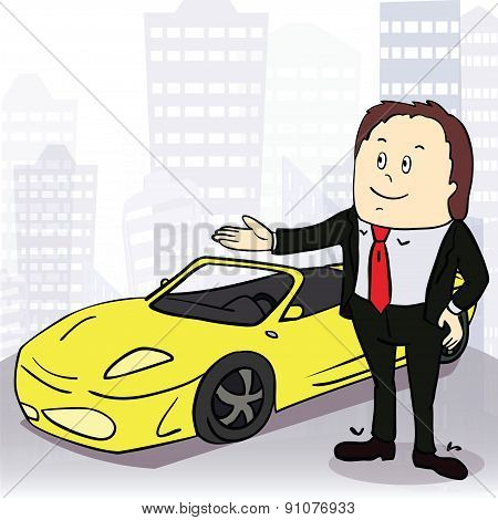Man and comfortable car in big city. Vector illustration